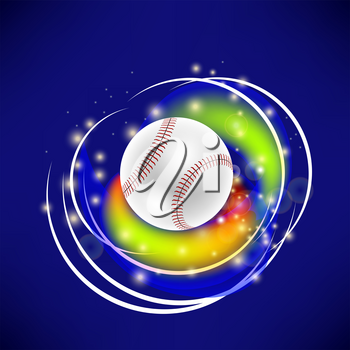 Flying Baseball Ball with Yellow Sparkles Isolated on Blue Background