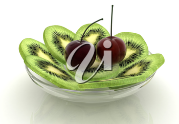 slices of kiwi and cherry on a white