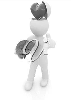 3d people - man with half head, brain and trumb up. Love concept with heart