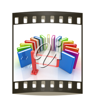 Colorful books in a semicircle and tourniquet to control. The concept of the exam on a white background. The film strip