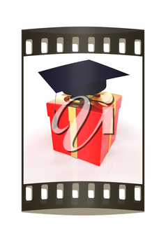 graduation hat on a red gift on a white background. The film strip