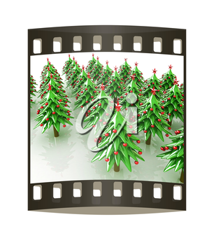 Christmas trees on a white background. The film strip
