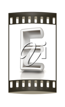 3D metall letter E isolated on white. The film strip
