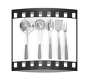 Cutlery on a white background. The film strip