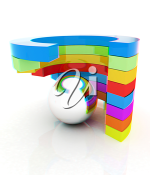 Abstract colorful structure with ball in the center . 3D illustration. Anaglyph. View with red/cyan glasses to see in 3D.