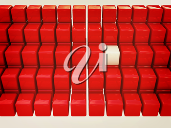 One individuality white cube among the red cubes isolated on white background. 3D illustration. Vintage style.