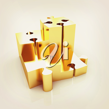 Concept of growth of gold puzzles on a white background. 3D illustration. Vintage style.