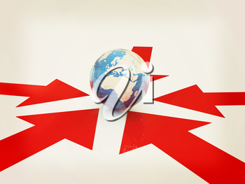 arrows way and earth on a white background. 3D illustration. Vintage style.