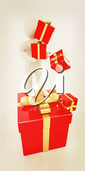 на белом фоне 3d man and red gifts with gold ribbon on a white background. 3D illustration. Vintage style.