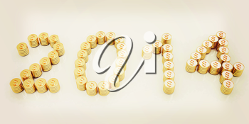 New Year 2014 on a white background. 3D illustration. Vintage style.