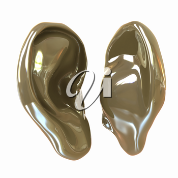 Ear model. 3d illustration