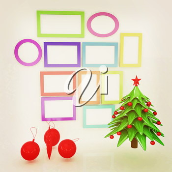 Set of Christmas and New Year frames and Christmas tree. 3D render. Vintage style