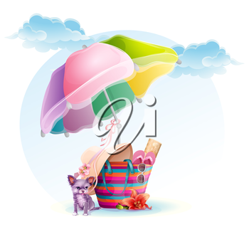 Royalty Free Clipart Image of a Beach Bag With a Dog and Umbrella