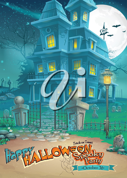 Royalty Free Clipart Image of a Haunted House Halloween Greeting