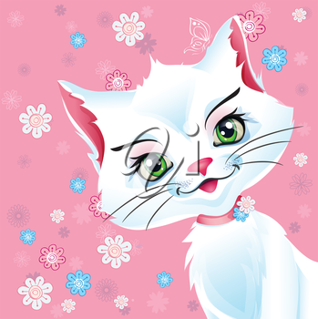 Royalty Free Clipart Image of a Kitty Cat With Flowers