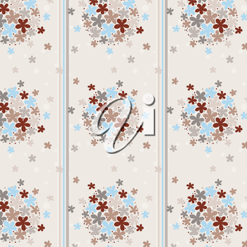 Royalty Free Clipart Image of a Floral Pattern in Stripes