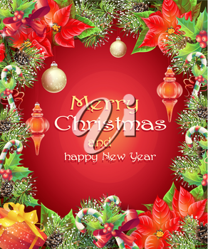 Greeting card with Christmas and New Year tree with branches, pine cones, toys, candy and flower