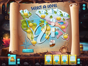 Example of the user interface to select the level to play treasure hunt