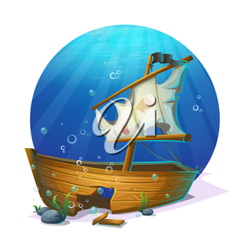Undersea world. Old pirate ship shipwreck on sandy bottom of ocean. For design websites and mobile phones, printing.