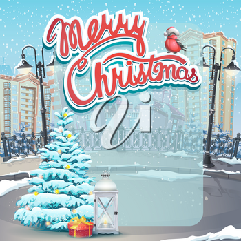 Vector illustration Merry Christmas invitation.  For print, create videos or web graphic design, user interface, card, poster.