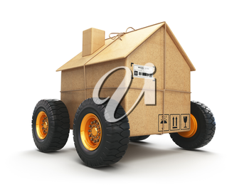 Cardboard house box with wheels isolated on white background. Moving, logistics and delivery concept. 3d illustration