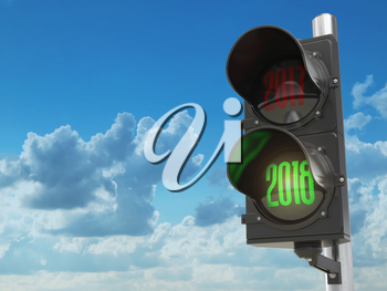 Happy new year 2018. Traffic light with green light 2018. 3d illustration