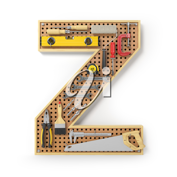Letter Z. Alphabet from the tools on the metal pegboard isolated on white.  3d illustration