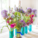 Beautiful spring flowers on wooden table. Shallow DOF.