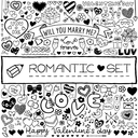 Doodle set of hearts, arrows, bows, presents, flowers etc. Design elements for Valentines Day, wedding invitation, baby shower, birthday card etc. Vector illustration.