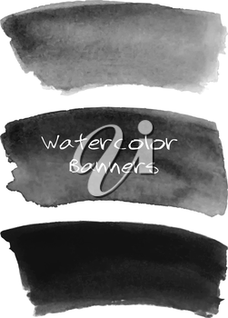 Watercolor black and grey banners set. Hand drawn abstract art. Creative design elements for website, scrapbooking and more.