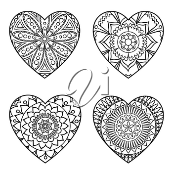 Doodle hearts set. Outline floral design elements in a heart shape. Coloring book pattern. Decorative hearts isolated on white. Love, acceptance, positive energy concept. Vector illustration.