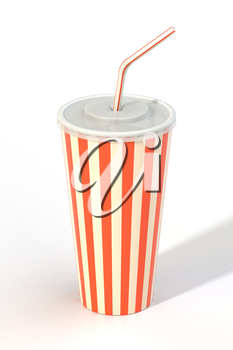 Fast food cola drink cup, drinking straw. Generic striped beverage package isolated on white background. Graphic design element for restaurant advertisement, menu, poster, flyer. 3D illustration