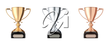 Set of trophies gold, silver, bronze. Trophy cup isolated on white background. Graphic design element. Victory, best product, service, employee, 1 place concept. Achievement in sports. 3D illustration