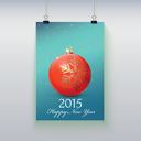 Poster with a Christmas ball on it, image is over a color background