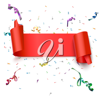 Curved, red banner with confetti isolated on white background. Vector illustration.