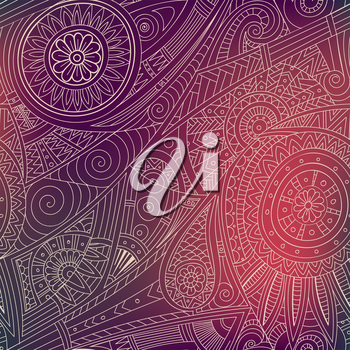 Tribal ethnic background. Hand-drawn vector doodles, seamless pattern. All elements are not cropped and hidden under mask, place the pattern on canvas and repeat
