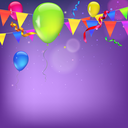 Background with flags, garlands, streamers and balloons for your presentation. Greeting card with bokeh effect on background. Colored flags, pennants, streamers and balloons with glow and bokeh effect