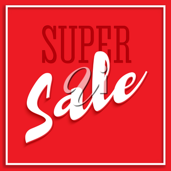 Sale poster with frame, volumetric text and shadow. Clearance super sale banner on red background. Sale and discounts template. Editable flyer, 3D illustration