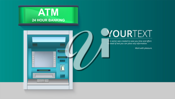 Bank Cash Machine. ATM - Automated teller machine with blank screen and carefully drawn details on white backdrop. Template for flyers, cover, presentation or poster.