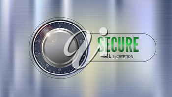 Secure SSL connection, 3D illustration. Concept security of information and data protected. Safe lock on metal surface with texture. Safe data encryption technology, https certificate privacy sign.
