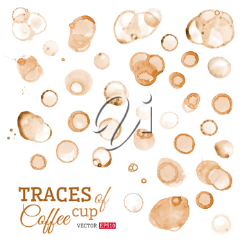 Vector round stains of coffee or tee.