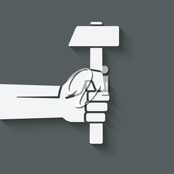 working symbol hand with hammer - vector illustration. eps 10