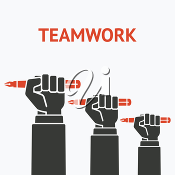 teamwork concept symbol office workers hand with pen - vector illustration. eps 8