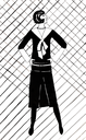 fashion of 20th Century - black and white jumper with bow and black skirt in 20th years