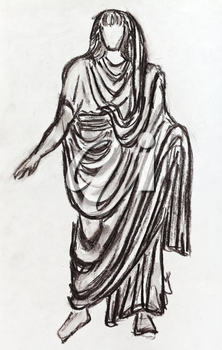 historical costume - ancient Roman emperor in a toga styled with a statue of the 1st century BC