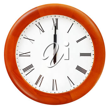 twelve o clock midnight on the round wall clock