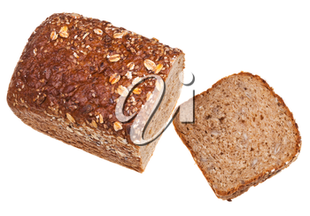 top view of grain bread loaf and sliced hunch of bread isolated on white background