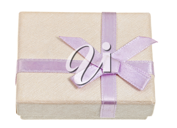small shining gift box with pink bow isolated on white background