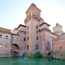 moat and Castello Estense in Ferrara, Italy