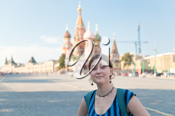 young woman on Red Square in Moscow